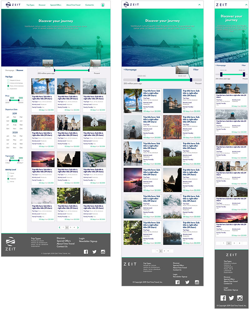 Zeit Discover Trips Page UI